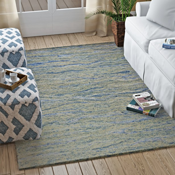 Bonaparte Hand-Tufted Ocean Wool Blue Area Rug Rug Size: 8'6