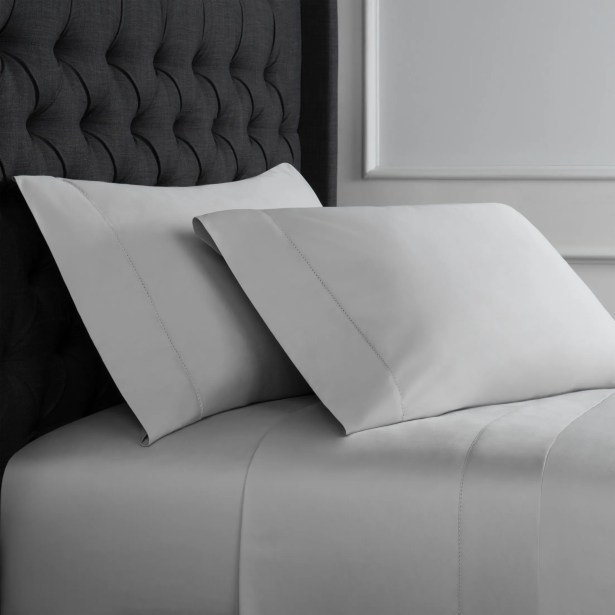 Crossman Hemstitch 600 Thread Count 100% Cotton Sheet Set Size: Twin, Color: Silver