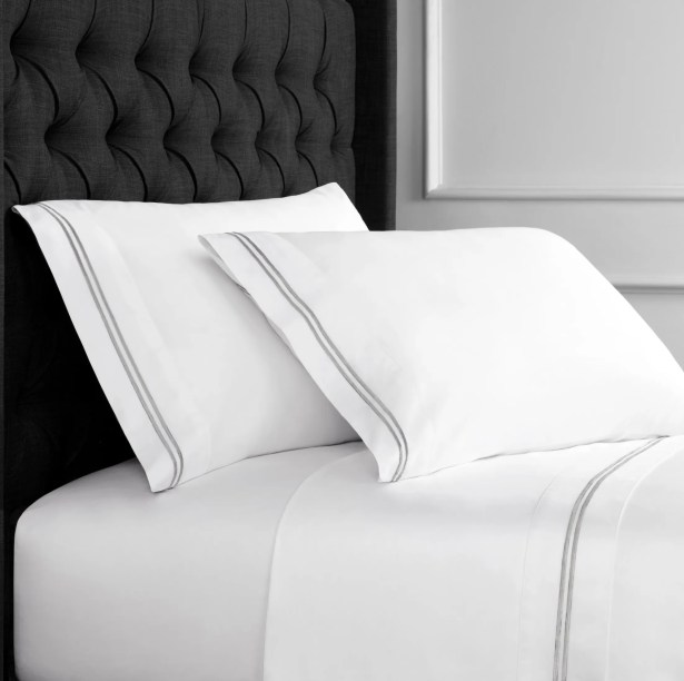 Drakeford Embroidered 600 Thread Count Sheet Set Size: Queen, Color: Gray
