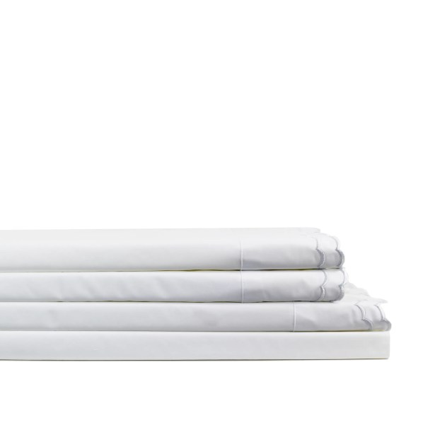 Brandt Double Scalloped Embroidered 300 Thread Count Percale Sheet Set Size: Full, Color: White/ White