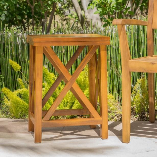 Marrufo Outdoor Acacia Wooden Side Table