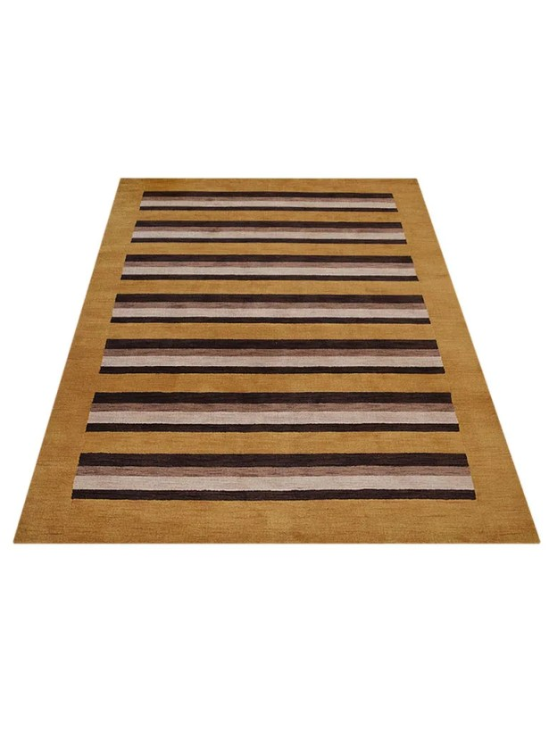 Ry Hand-Knotted Wool Gold/Brown Area Rug Rug Size: Rectangle 6' x 9'