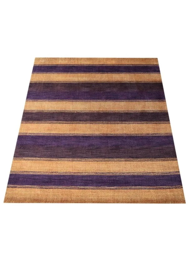 Ry Hand-Knotted Wool Purple/Gold Area Rug Rug Size: Rectangle 5' x 8'