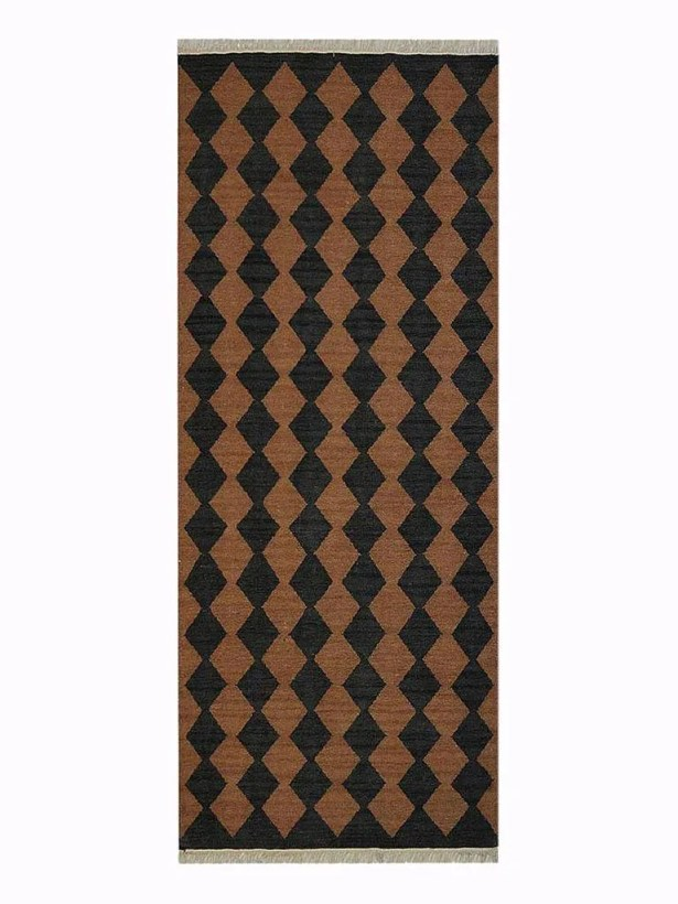 Zayas Hand-Woven Brown/Charcoal Area Rug Rug Size: Runner 3' x 13'