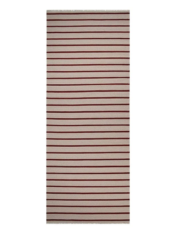Donora Hand-Woven Wool Cream/Red Area Rug Rug Size: Runner 2'6