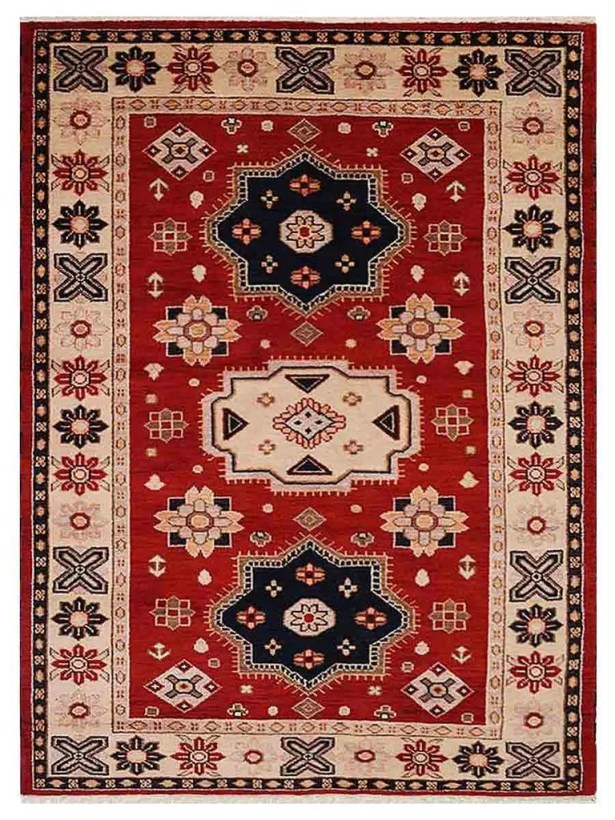 Corrin Hand-Woven Red/Cream Area Rug Rug Size: Rectangle 9' x 12'