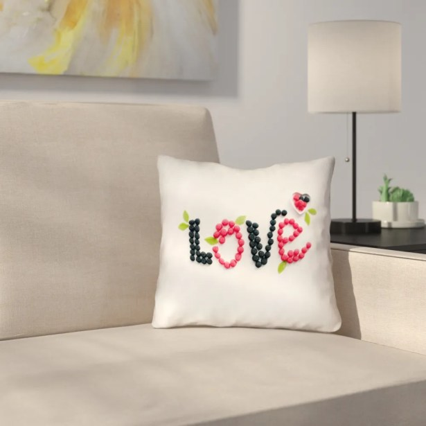 Buoi Love and Berries Square Double Sided Print Indoor Throw Pillow Size: 18