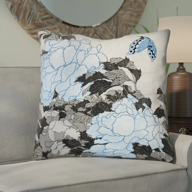 Clair Peonies and Butterfly Square Throw Pillow Size: 40