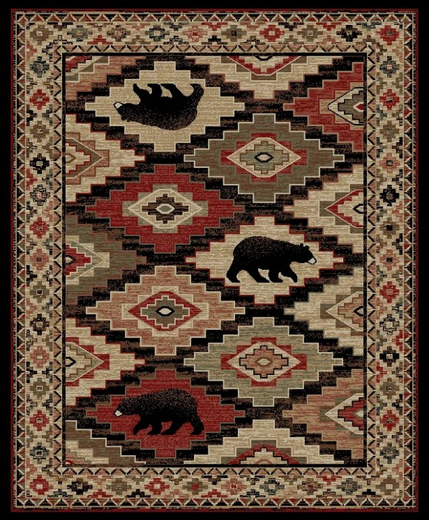 Perri Lodge Bear Beige/Black Area Rug Rug Size: Rectangle 5'3