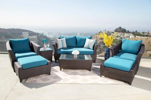 Lemanski 7 Piece Rattan Sunbrella Conversation Set with Cushions