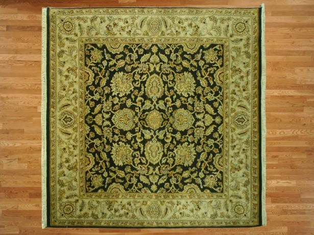 One-of-a-Kind Railey Hand-Knotted Silver Black Area Rug