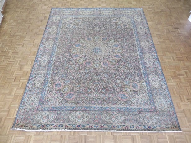 One-of-a-Kind Padro Kerman Hand-Knotted Brown Area Rug