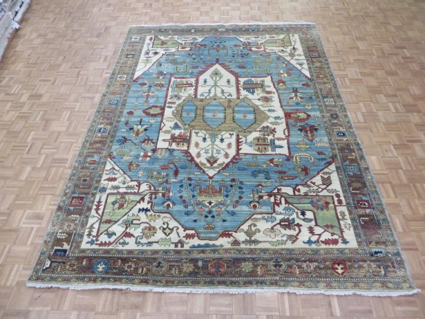One-of-a-Kind Padro Heriz Hand-Knotted Wool Sky Blue Area Rug Rug Size: Rectangle 8'10