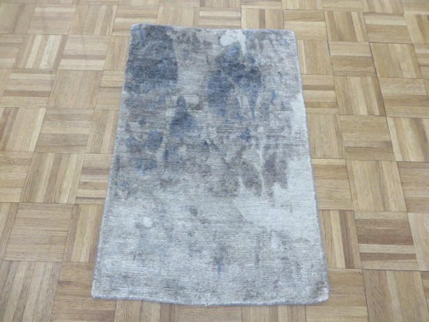 One-of-a-Kind Padang Sidempuan Modern Hand-Knotted Wool Gray Blue Area Rug Rug Size: Rectangle 2' x 3'