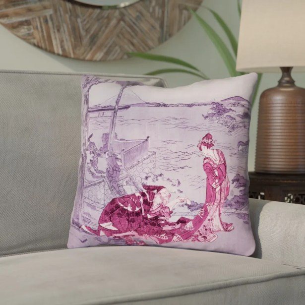 Enya Japanese Courtesan Throw Pillow  Size: 18