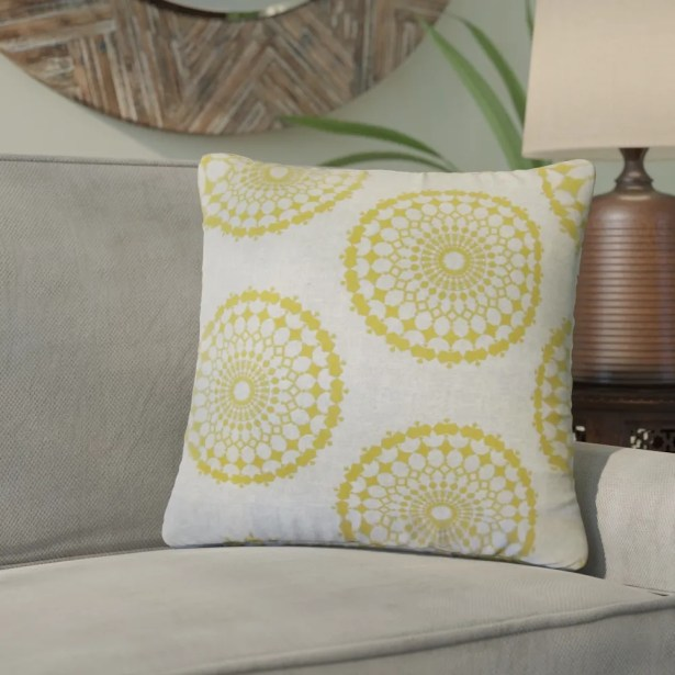 Windsor Geometric Cotton Throw Pillow Color: Yellow