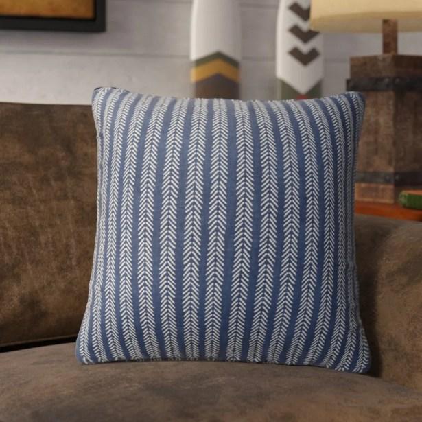Couturier Striped Square Throw Pillow (Set of 16) Color: Indigo, Size: 16