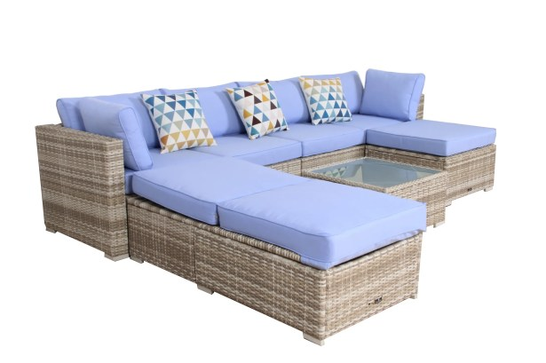 7 Piece Rattan Sectional Set with Cushions