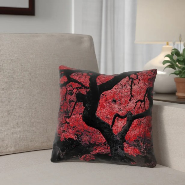 Ghost Train Japanese Maple Tree 100% Cotton Throw Pillow Size: 20