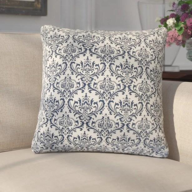 Goffredo Damask Cotton Throw Pillow