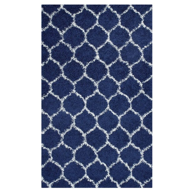 Eleftheria Moroccan Trellis Navy Blue/Ivory Area Rug Rug Size: Rectangle 5' x 8'