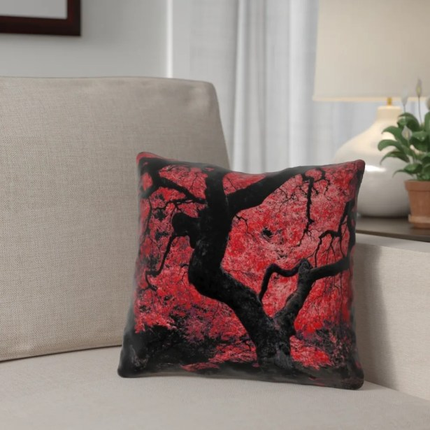 Ghost Train Japanese Maple Tree Printed Square Throw Pillow Size: 26