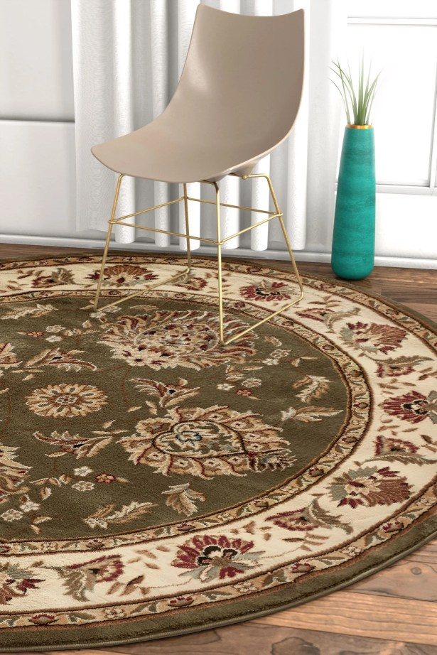 Pickett Green/Beige Area Rug Rug Size: Round 5'3