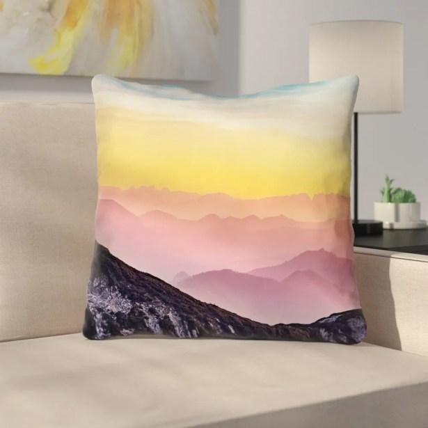 Thang Pastel Landscape Zipper Throw Pillow Size: 16