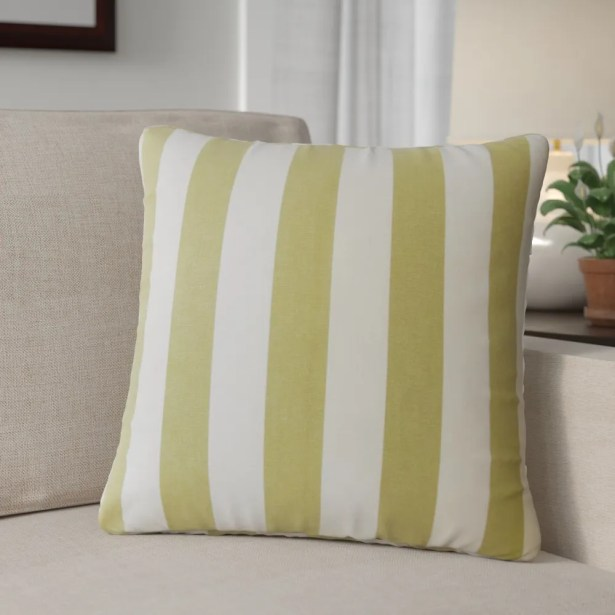 Grossman Striped Cotton Throw Pillow Color: Avocado
