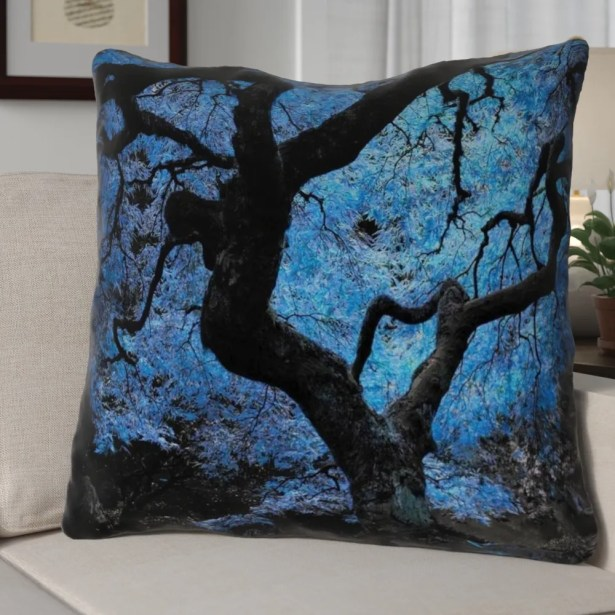 Ghost Train Modern Blue Japanese Maple Tree Throw Pillow Cover Size: 16