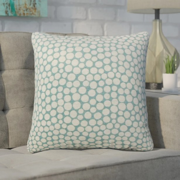 Xandra Polka Dot Throw Pillow Color: Blue