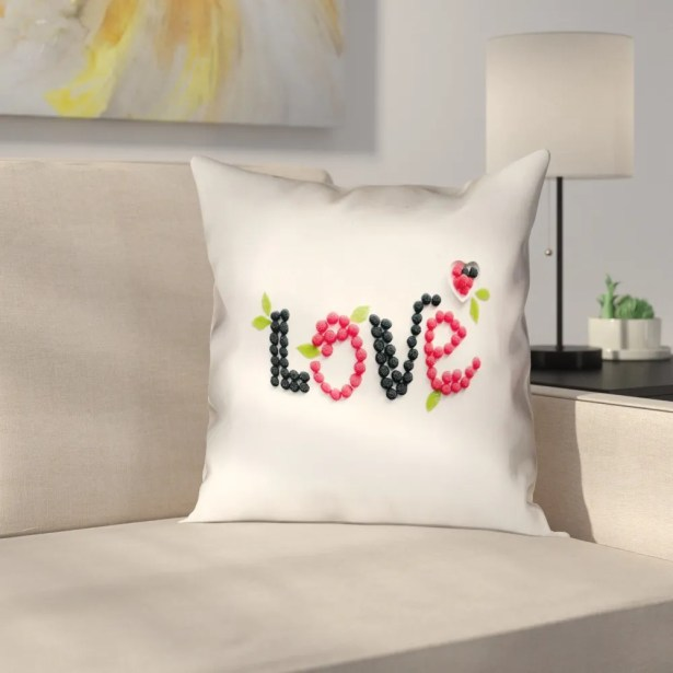 Buoi Love and Berries Square Linen Double Sided Print Pillow Cover Size: 26