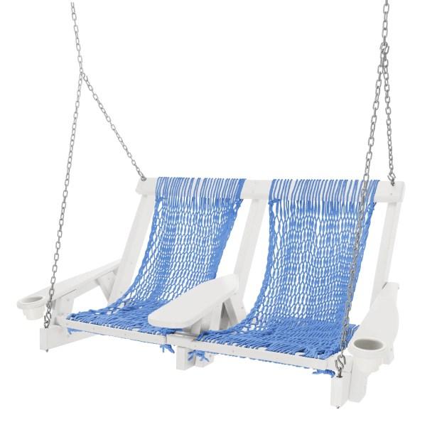 Coastal Duracorda Porch Swing Fabric: Cobalt, Finish: White