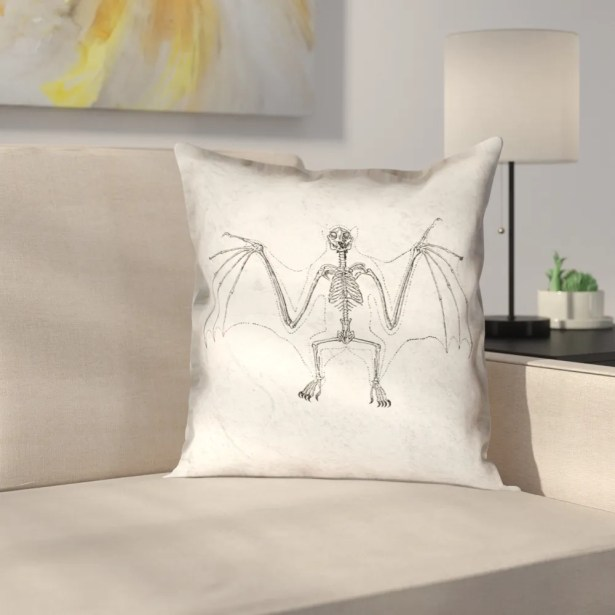 Vintage Bat Skeleton Outdoor Throw Pillow Size: 16