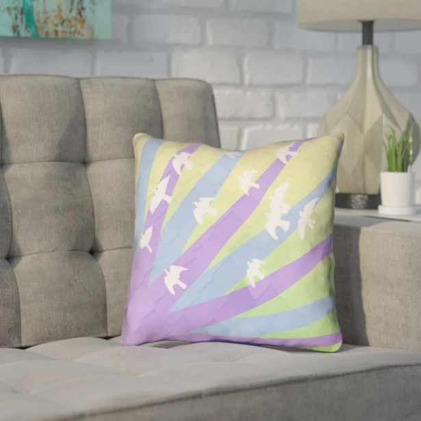 Enciso Birds and Sun Faux Leather Throw Pillow Size: 20