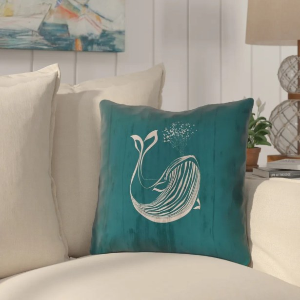 Lauryn Rustic Whale Throw Pillow Size: 14