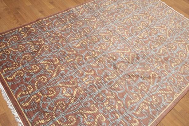 Dimattia Wool Rusty Brown/Blue Area Rug