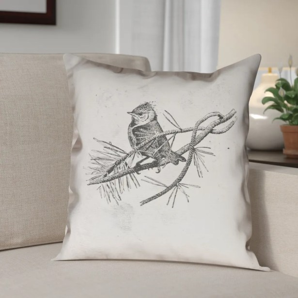 Venezia Vintage Bird Double Sided Throw Pillow Size: 20