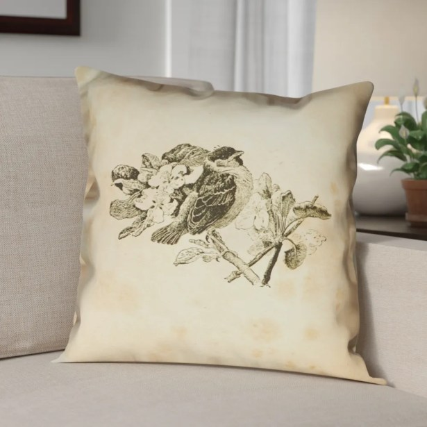 Venezia Vintage Bird Double Sided Throw Pillow Size: 28