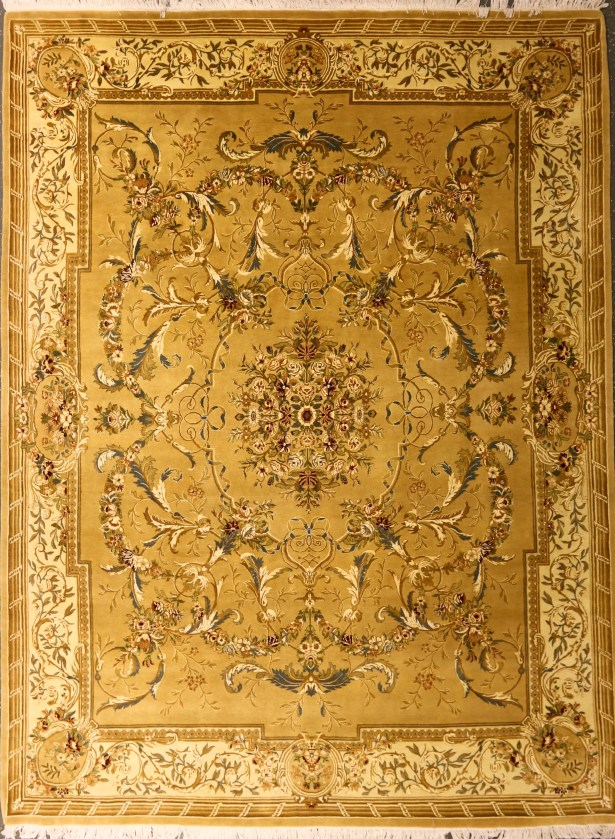 Pylle Hill One-of-a-Kind Pakistani Aubusson Hand-Knotted Wool Mustard Area Rug