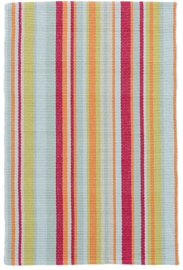 Clara Stripe Hand-Woven Cotton Red/Yellow Area Rug Rug Size: Rectangle 8' x 10'
