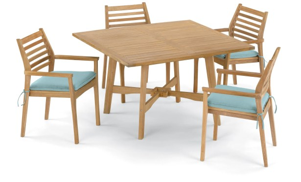 Eichhorn 5 Piece Dining Set with Cushions Cushion Color: Canvas Mineral Blue