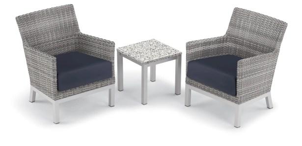 Saint-Pierre 3 Piece Club Rattan Conversation Set with Cushions Cushion Color: Midnight Blue