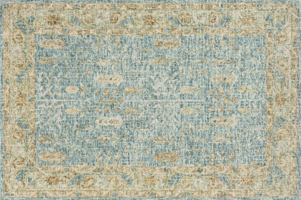 Fitzwater Hand-Hooked Wool Blue/Gold Area Rug Rug Size: Rectangle 7'9