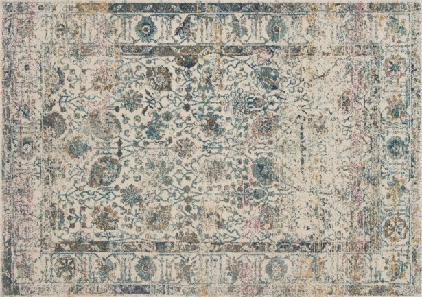 Palmore Ivory/Blue Area Rug Rug Size: Rectangle 2'7