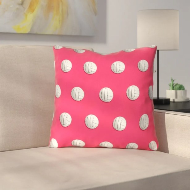 Volleyball Throw Pillow with Insert Size: 14