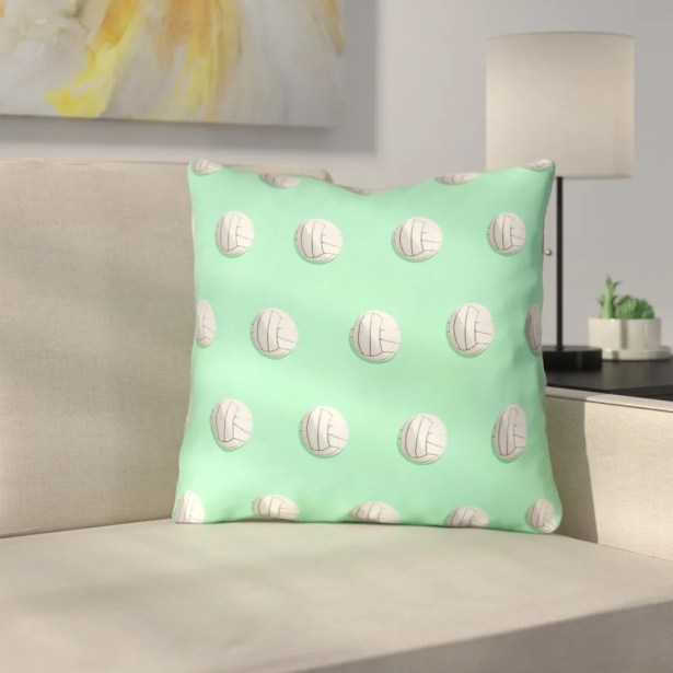 Volleyball Throw Pillow with Insert Size: 18