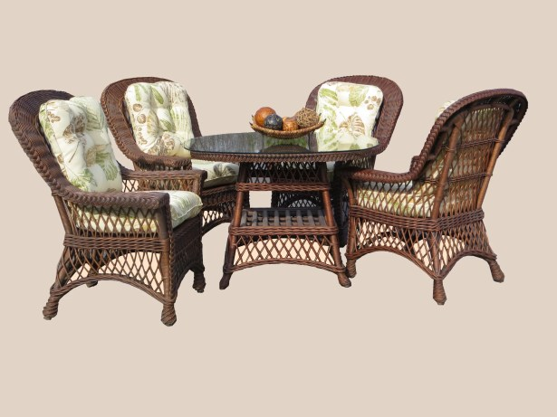 Rosado 5 Piece Dining Set with Cushions Color: Brown, Cushion Color: Coral