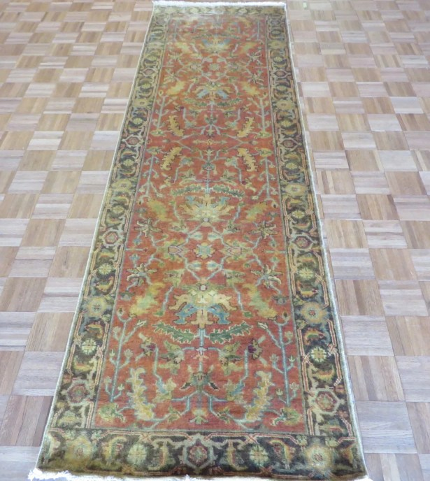 One-of-a-Kind Elbridge Antiqued Serapi Heriz Hand-Knotted Silk Orange Area Rug