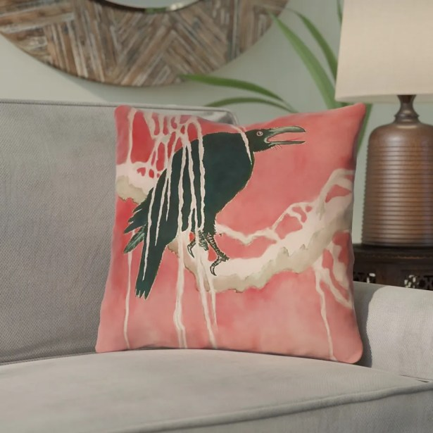 Montreal Crow and Willow Square Indoor Throw Pillow Size: 18